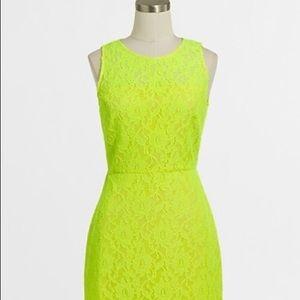 NWT J. Crew neon lace yellow shift dress size 2
